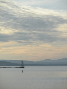 small lighthouse in the bay, Lake Champlain, Vermont