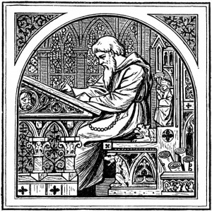 black and white woodcut of monk at illustration desk