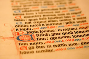 closeup of medieval handwritten manuscript
