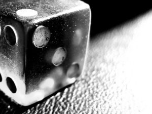 black and white closeup of dice