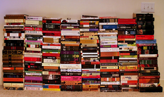 stacks of books with spine showing