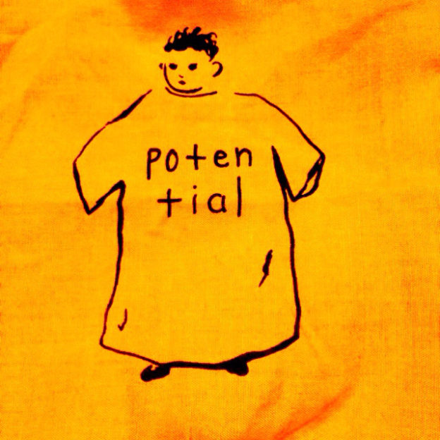 "yellow background with a line drawing of a person inside a huge T shirt that reads ""potential"""